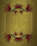 Текстура золота с флористической рамкой Элемент для конструкции Шаблон для конструкции скопируйте космос для брошюры объявления и Стоковое Изображение RF
