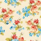 Текстура иллюстрации вектора элегантности с розами и незабудкой Стильная красивейшая флористическая безшовная картина Бесплатная Иллюстрация