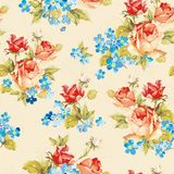 Текстура иллюстрации вектора элегантности с розами и незабудкой Стильная красивейшая флористическая безшовная картина Иллюстрация вектора