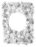 Текстура и предпосылка картины цветков вышивки серые на whit Стоковое Изображение