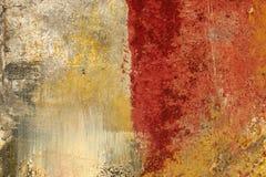 Текстура и предпосылка, покрашенные на холсте, красный и ocher Стоковое Изображение