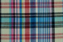 Текстура и предпосылка ткани хлопка красочной шотландской Стоковая Фотография RF
