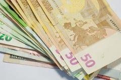 текстура 20, 50, 100 и 200 счетов евро Стоковое Изображение