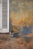 Текстура: каменная поверхность с частью деревянных штарок Стоковое Фото