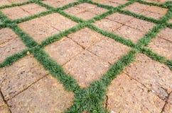 Текстура каменных блока и травы Стоковые Фотографии RF
