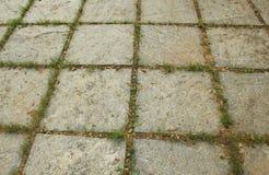 Текстура каменных блока и травы Стоковые Фото