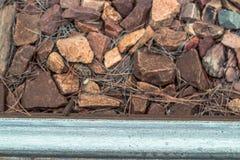 Текстура камней железной дороги и железной дороги Стоковые Изображения RF