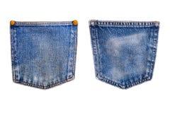 Текстура карманн демикотона джинсовой ткани голубая классическое индиго Стоковые Изображения