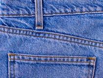 Текстура карманн демикотона джинсовой ткани голубая классическая мода индиго Стоковое Фото