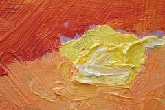 Текстура картины маслом близкая поднимающая вверх с ходами щетки Стоковые Фотографии RF