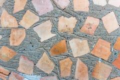 Текстура кирпичной стены с бетоном стоковые изображения