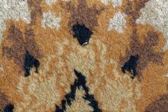 Текстура ковра, абстрактный орнамент макроса Ближневосточная традиционная предпосылка ткани ковра Стоковое Изображение
