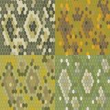 Текстура кожи змейки комплекта 4 Безшовный питон картины вектор Стоковые Изображения RF