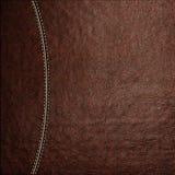 Текстура коричневой кожаной предпосылки с сшитым швом, конца-вверх Стоковые Фото