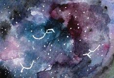 Текстура космоса акварели с накаляя звездами ночное небо звёздное также вектор иллюстрации притяжки corel желтый цвет акварели ст Стоковые Фотографии RF