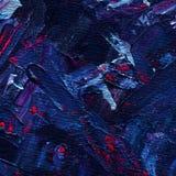 Текстура космоса краски масла с ходами щетки Смешивание голубых, фиолетовых, фиолетовых и серебряных цветов предпосылка творческа Стоковые Фотографии RF