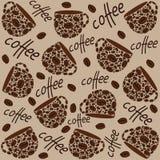 текстура Кофейные чашки и слова иллюстрация вектора