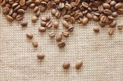 текстура кофе мешковины фасолей Стоковые Фото