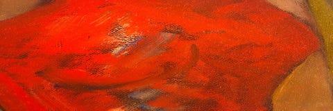 Текстура краски абстрактного масла красная на холсте, красной предпосылке краски Стоковые Изображения