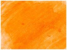 Текстура краски оранжевого холста бумаги акварели руки вычерченного абстрактная Предпосылка выплеска растра стоковые фото