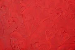 текстура красного цвета картины краски сердец Стоковое Изображение