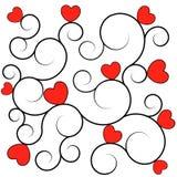 текстура красного цвета сердец предпосылки Стоковая Фотография