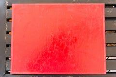 Текстура красного цвета ткани таблицы кожаная Стоковая Фотография RF