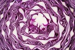 Текстура красной капусты, шотландской листовой капусты или фиолетовой капусты Стоковые Изображения