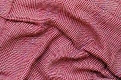 Текстура красной ткани холстинки Стоковое Изображение RF