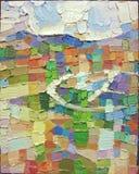 Текстура крупного плана картины маслом картины абстрактного экспрессионизма Стоковое фото RF
