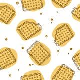 Текстура кудрявых шутих безшовная в желтых цветах Стоковые Изображения RF
