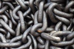Текстура кучи цепи металла Стоковая Фотография