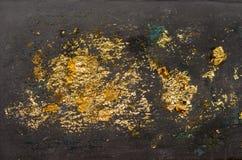 Текстура листового золота, предпосылка нерезкости золота, изображение от изображения Будды назад, предпосылка листового золота стоковая фотография
