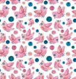 Текстура маленьких розовых птиц акварели и темносиних точек безшовная иллюстрация вектора