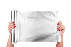 текстура металла алюминиевой фольги Стоковые Изображения