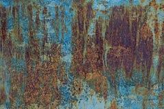 Текстура металла Grunge ржавая с старой голубой краской Стоковые Фото