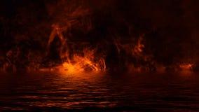 Текстура огня с отражением в воде Пламена на изолированной черной предпосылке Текстура для летчика, карты стоковое изображение