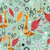 Текстура осени с птицами Стоковое Изображение RF