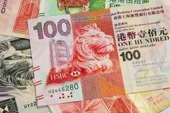 Текстура 100 долларовых банкнот Гонконга Стоковая Фотография