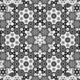 Текстура персидского симметричного орнамента картины черно-белая Стоковые Изображения