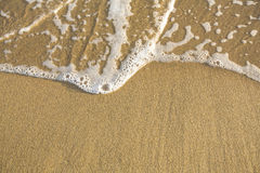 Текстура песка пляжа с мягкими волнами Природа Стоковые Изображения