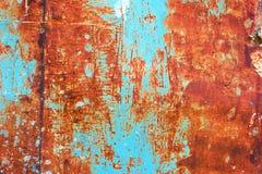 Текстура поверхности металла grunge Teal и апельсина ржавая Стоковая Фотография RF