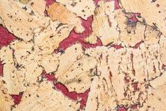 Текстура поверхности пробковой доски деревянной, естественной деревянной декоративной панели Стоковое Изображение