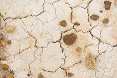 Текстура потрескиванной белой глины Стоковое Фото