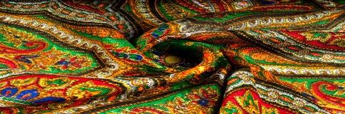Текстура, предпосылка, картина Головной платок женщины, шаль Яркий c Стоковая Фотография RF