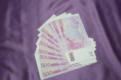 Текстура предпосылки 500 примечаний евро Стоковые Изображения RF