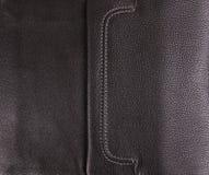 текстура предпосылки черная кожаная Стоковые Изображения