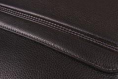 текстура предпосылки черная кожаная Стоковое Изображение RF