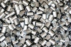 Текстура предпосылки алюминиевых чонсервных банк Стоковая Фотография