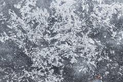 Текстура предпосылки ледяных кристаллов Ледистая картина, в зиме Стоковое Фото